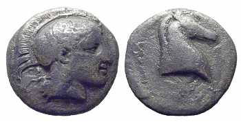 Thessaly, Pharsalos, AR Hemidrachm, 400-344 BC
