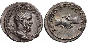 "᷅  <font color=""#FF0000""><b>SOLD</b></font color>: Pupienus, 238 AD, AR Antoninianus, Clasped Hands, struck April-July 238 AD"