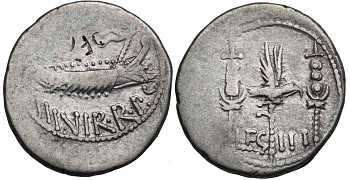 "᷅  <font color=""#FF0000""><b>SOLD</b></font color>: Roman Imperational, Mark Antony, AR Legionary Denarius, struck c. 32-31 BC"