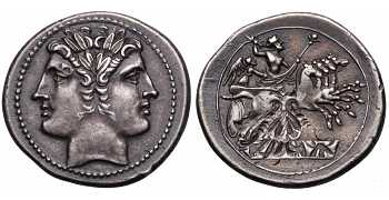 "᷅  <font color=""#FF0000""><b>SOLD</b></font color>: Roman Republic, Anonymous, AR Quadrigatus or Didrachm, c. 225-214 BC"
