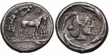 Sicily, Syracuse, Deinomenid Tyrrany, Time of Hieron I, 478-466 BC, AR Tetradrachm, Arethusa, struck c. 480-475 BC