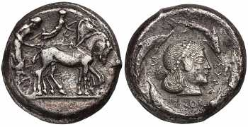 Sicily, Syracuse, Deinomenid Tyranny, Time of Hieron I, AR Tetradrachm, Arethusa, 480-475 BC