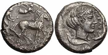 Sicily, Syracuse, Second Democracy, AR Tetradrachm, Arethusa, 450-440 BC