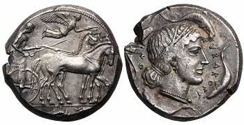 Sicily, Syracuse, Second Democracy,  466-405 BC, AR Tetradrachm, Arethusa, struck c. 450-440 BC