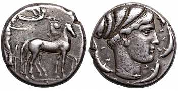 Sicily, Syracuse, Second Democracy,  466-405 BC, AR Tetradrachm, Arethusa, struck  c. 430-420 BC