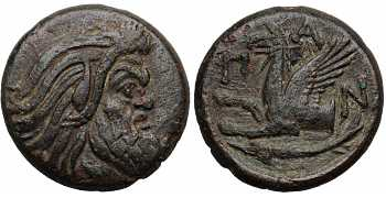 Tauric Chersonesos, Pantikapaion, AE21, Bearded Pan, Late 4th-3rd Century BC