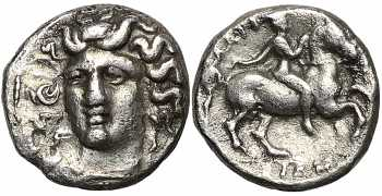 "᷅  <font color=""#FF0000""><b>SOLD</b></font color>: Thessaly, Larissa, AR Trihemiobol, Late 4th to early 3rd century BC"