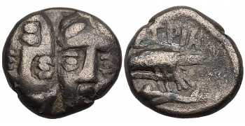 Thrace, Istros, AR Trihemiobol, Left Head Inverted, 4th Century BC