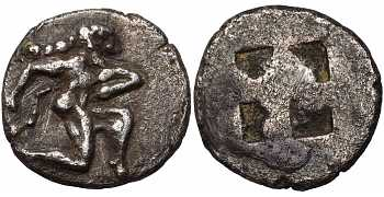 Islands off Thrace, Thasos, AR Eighth Stater – Diobol, Satyr, c. 500-480 BC