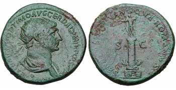 "᷅  <font color=""#FF0000""><b>SOLD</b></font color>: Trajan, 98-117 AD, AE Dupondius, Column of Trajan, struck 114-116 AD"