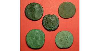 "᷅<font color=""#FF0000""><b>SOLD</b></font color>: Wholesale Lot of 5 large Roman coins"