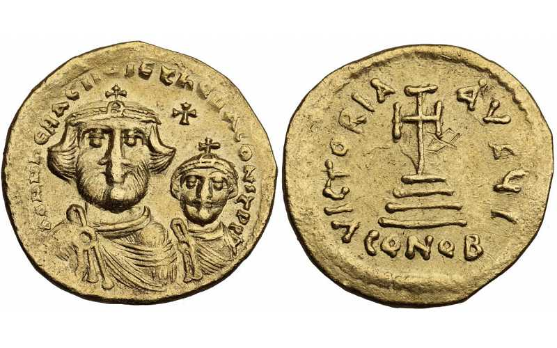 Heraclian Dynasty, Heraclius, with Heraclius Constantine, 610-641 AD, Struck c. 616-625 AD