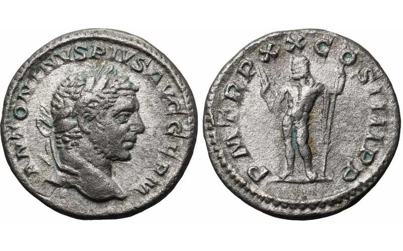 "᷅  <font color=""#FF0000""><b>SOLD</b></font color>: Caracalla, 198-217 AD, AR Denarius, Jupiter, struck 217 AD"