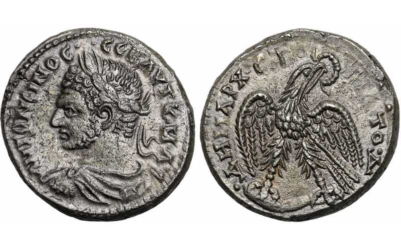 Caracalla, 198-217 AD, Syria, Seleucis and Pieria, Antioch, AR Tetradrachm, Eagle, struck c. 214-215 AD, Prieur Plate Coin