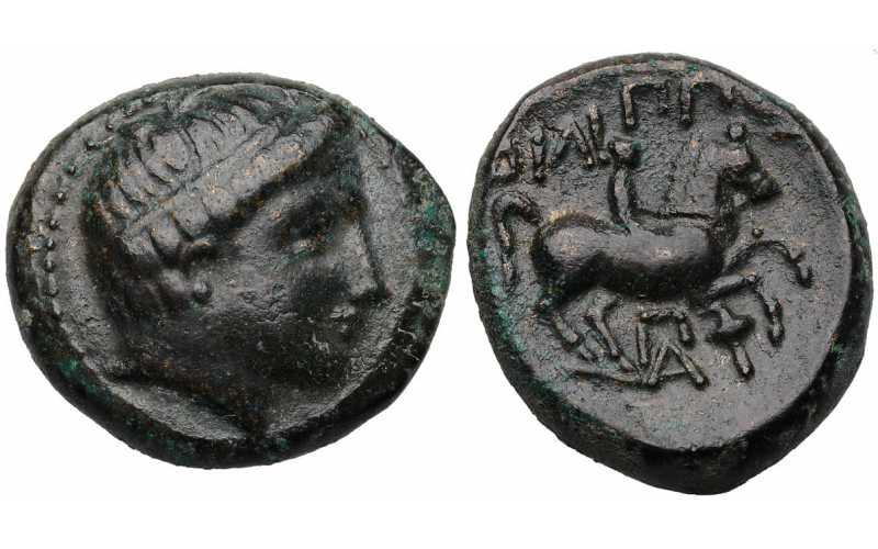 Kingdom of Macedon, Philip II, AE18, Pi A and Torch Control Mark, 359-336 BC