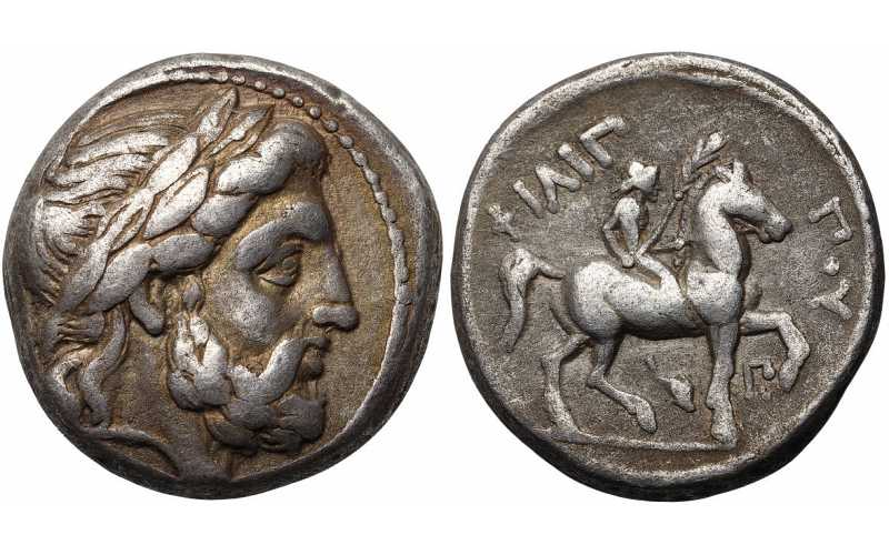 "᷅  <font color=""#FF0000""><b>SOLD</b></font color>: Kingdom of Macedon, Philip II, 359-336 BC, AR Tetradrachm, Dolphin and Pi Control Marks, struck c. 323/2-316/5 BC"