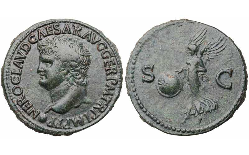 Nero, 54-68 AD, Ae As, Victory, struck c. 65 AD