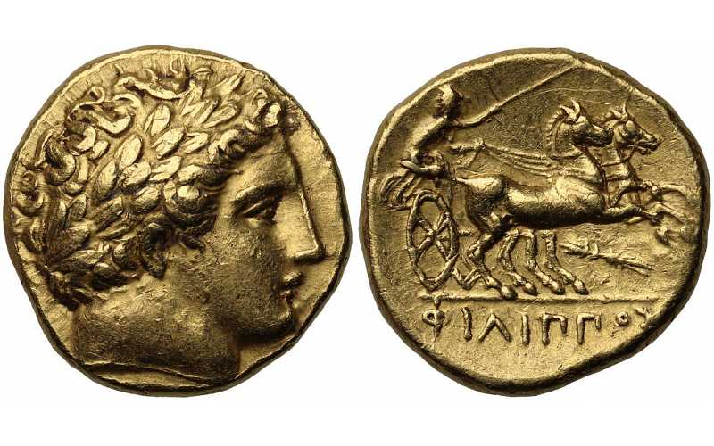 Kingdom of Macedon, Philip II, 359-336 BC, AV Stater, Thunderbolt Control Mark, struck c. 340/36-328 BC, Le Rider Plate Coin