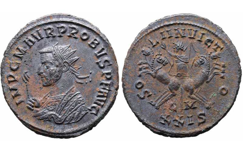 Probus, 276-282 AD, Silvered Antoninianus, Sol in Quadriga, XXIS, struck 280 AD, almost Uncirculated