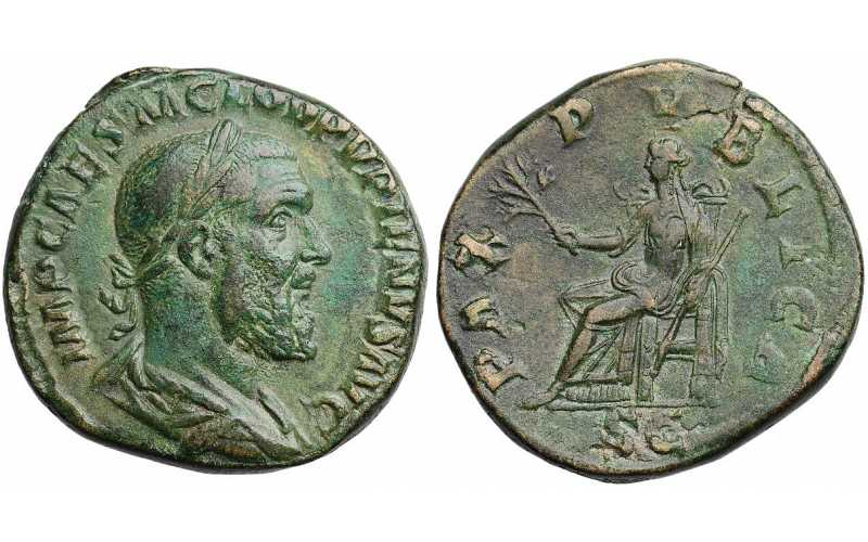 Pupienus, 238 AD, AE Sestertius, Pax Republica, struck April-July 238 AD
