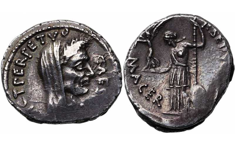 Roman Imperational, Julius Caesar, as Dictator, 49-44 BC, AR Denarius, 'the coin that killed Caesar', struck February-March 44 BC, Banti Plate Coin