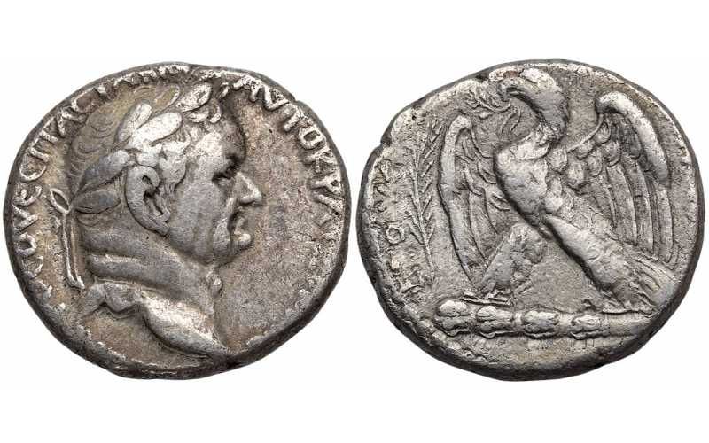 "᷅  <font color=""#FF0000""><b>SOLD</b></font color>: Vespasian, 69-79 AD, Syria, Seleucis and Pieria, Antioch, AR Tetradrachm, struck 69/70 AD"